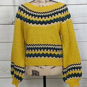 SWEET RAIN Yellow Bishop Sleeve Sweater..